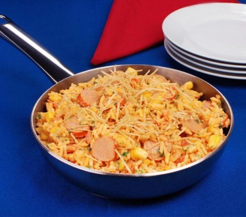 receita facil feriado frigideira arroz e salsicha