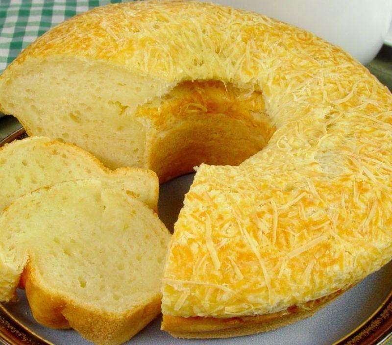receita facil feriado pao de queijo gigante